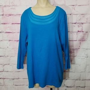 Rafaella blue mid sleeve shirt 2x